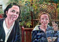 Ölmalerei, Sitzplatz, Garten, Malerei