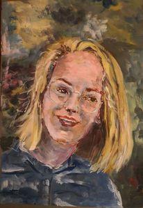 Blond, Mädchen, Gouachemalerei, Malerei