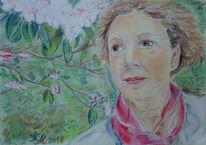 Buntstiftzeichnung, Selbstportrait, Rhododendron, Weiß