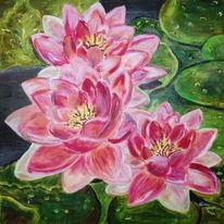 Seerosen, Rosa, Blumen, Ölmalerei