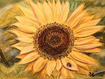 Pastellmalerei, Gelb, Käfer, Sonnenblumen