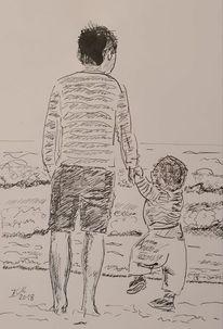 Täuschen, Vater und kind, Strand, Zeichnungen