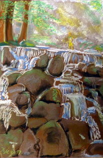 Wasserfall, Felsen, Sonne, Malerei