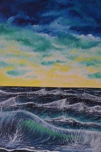 Dämmerung, Malerei, Ufer, Natur