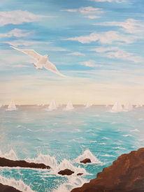 Möwe, Wolken, Acrylmalerei, Welle