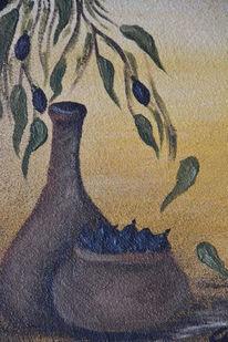 Olivenzweige, Acrylmalerei, Stillleben, Mediterran