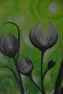 Natur, Grün, Distel, Malerei