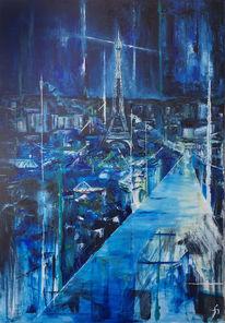 Malerei, Städte, Stadt, Öl auf leinwand