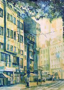Straße, Ölmalerei, Straßenbahn, Bahn