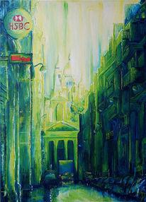 Malerei, Ölmalerei, Grün, Stadt