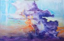 Zeitgenössisch, Sonne, Gemälde, Sonnenuntergang