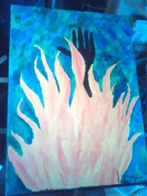 Feuer, Hand, Surreal, Malerei