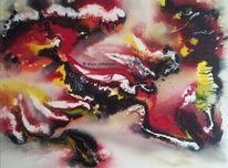 Vulkan, Naturgewalt, Gelb, Rot schwarz