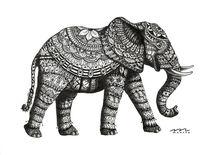 Indien, Schwarz, Schwarzweiß, Elefant