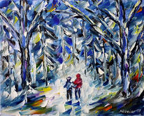 Winter, Wald, Impressionismus, Winterlandschaft