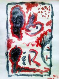 Malerei, Rot schwarz, Surreal, Weiß