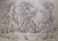 Zeichnung, Italienische, Mittelalter, Komödie