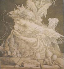 Weberin, Zeichnung, Frauengestalt, Mythe