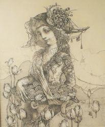 Zeichnung auf hartfaser, Detailliert, Blumenkörbchen, Zeichnungen