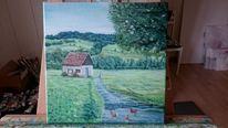 Farben, Hütte, Weg, Malerei