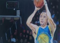 Basketball, Figural, Grün, Malerei