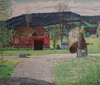 Haus, Magie, Landschaft, Malerei