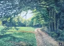 Wald, Wiese, Himmel, Malerei