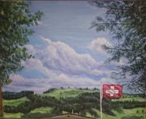 Fahne, Himmel, Baum, Malerei