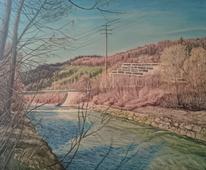 Landschaft, Wasser, Wasserfall, Malerei