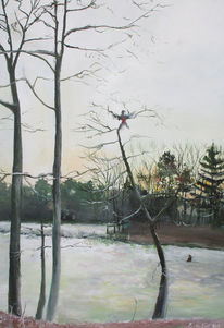 Wald, Vogel, Sonnenaufgang, Schnee