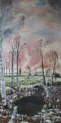 Frost, Sonnenuntergang, Schnee, Malerei