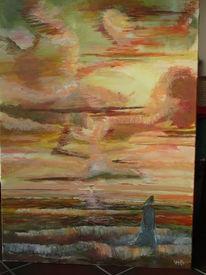 Sonne, Wolken, Meer, Frau