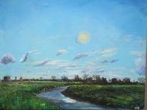 Wiese, Sonne, River brue, Malerei