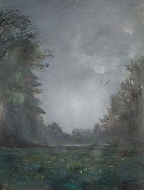 Landschaft, Nacht, Vogel, Malerei