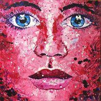 Abstrakt, Malerei, Pinke frau, Gesicht