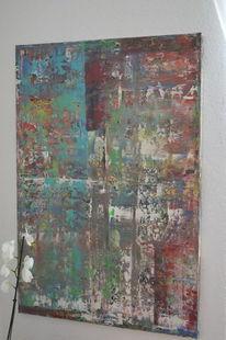 Acrylmalerei, Abstrakt, Rakeltechnik, Malerei
