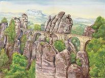 Sächsische schweiz, Brücke, Aquarellmalerei, Aquarell