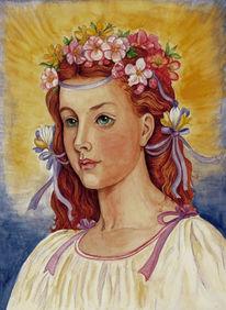 Frühling, Menschen, Aquarellmalerei, Aquarell