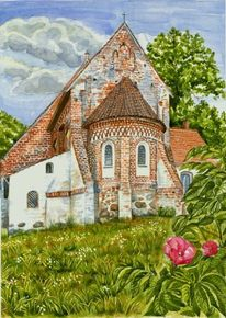 Kirche, Altenkirchen, Aquarellmalerei, Aquarell