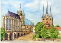Dom und severi, Aquarellmalerei, Erfurt, Aquarell