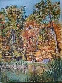Teich, Aquarellmalerei, Buntes laub, Goldener herbst
