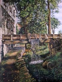 Steg, Wasserfall, Baum, Bach