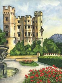 Schloss, Aquarellmalerei, Natur, Aquarell