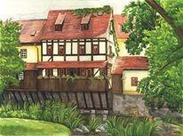 Thüringen, Aquarellmalerei, Erfurt, Studentenburse