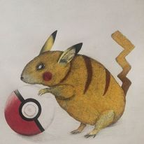 Pokemon, Papier, Farben, Schwarz