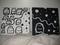 Schwarz weiß, Pacman, Malerei