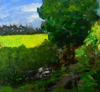 Pfütze, Malerei, Baum, Landschaft