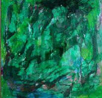 Spachtelei, Grün, Auf steinpapier, Malerei