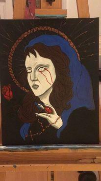 Acrylmalerei, Religion, Malerei, Frau