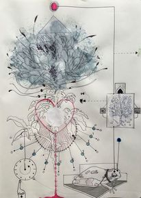 Botanik, Zeit, Skizze, Kugelschreiber